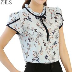 Summer Women Chiffon Flower Print Blusas Feminina Short Sleeve Stand Collar Bow Blouse And Shirts Female Plus Size Casual Tops Blusas Women Tops Blouses Ladies Chiffon Long Sleeve Floral Shirt Women Slim Camisas Mujer Plus Size Chemise Femme White Black G Plus Size Casual, Casual Tops, Camisa Feminina Plus Size, Sewing Blouses, Work Attire, Mode Style, Fashion Outfits, Womens Fashion, Blouse Designs