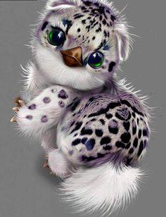 Snow Panthera Monster Baby Diamond Painting - Bilder - The Dallas Media Cute Fantasy Creatures, Cute Creatures, Magical Creatures, Cute Animal Drawings, Cute Drawings, Cute Baby Animals, Funny Animals, Mystical Animals, Anime Animals