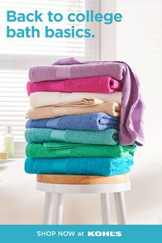 If you're heading back to campus in the fall, make sure you have your bathroom basics covered! A few bath towels are a necessity for your dorm or apartment bathroom. Shop bathroom supplies at Kohl's and Kohls.com. #backtocollege #bath Bathroom Shop, Diy Bathroom Decor, Back To College, Dorm Essentials, Dorm Life, Bed & Bath, Bathroom Inspiration, Kohls, Bath Towels