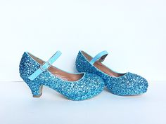 Toddler Glitter Shoes - Blue Kids Girls Heel -  Light Ice Blue Heel - Glitzy Baby Flower Girl Shoes - pinned by pin4etsy.com