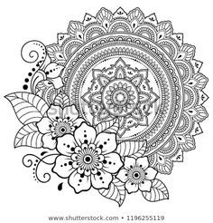 Circular pattern in form of mandala with flower for Henna, Mehndi, tattoo, decoration. Decorative ornament in ethnic oriental style. Coloring book page. Circular Pattern, Mandala Pattern, Zentangle Patterns, Mandala Tattoo Sleeve, Mandala Tattoo Design, Pattern Coloring Pages, Mandala Coloring Pages, Mehndi Tattoo, Henna Mehndi