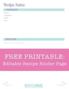 Free Editable Recipe Binder Page! 8 1/2 x 11 minimalist design - won't use up all your ink! PDF and Illustrator versions!