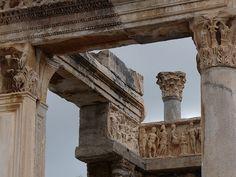 columns and friezes of Temple of Hadrian, Ephesus