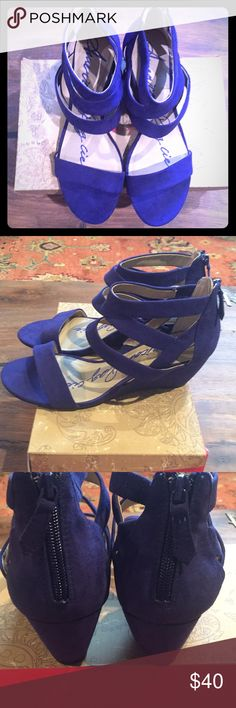 American Rag Blue wedge shoes NIB Suede strapping blue wedge shoes! Beautiful! American Rag Shoes Wedges