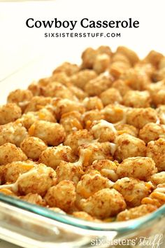 Ground beef and vegetables in a creamy sauce topped with golden tater tots - this Cowboy Casserole (Tater Tot Casserole) is the perfect weeknight dinner.