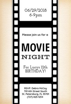 movie night free printable birthday invitation template greetings island