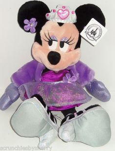 Disney Glam Minnie Mouse Plush Toy Princess Crown Purple Theme Parks NWTS