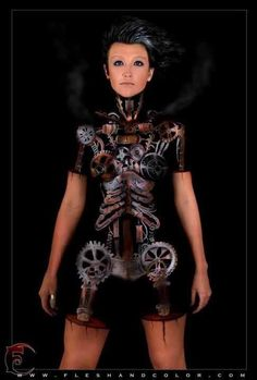 Body paint of Steampunk gears and cogs