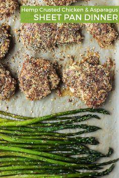 Hemp Crusted Chicken & Asparagus Sheet Pan Dinner. Naturally gluten-free, paleo, Whole30 compliant