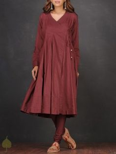 Red Pintuck Angrakha Cotton Mul Kurta by Jaypore