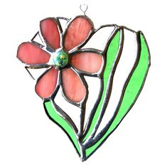 Stained glass suncatcher pink Daisy flower Heart unique handmade with love by Joysofglass mothers day Stained Glass Suncatchers, Stained Glass Flowers, Pink Daisy, Glass Texture, Pansies, Home Crafts, Flower Designs, Heart Shapes, Things To Come