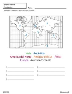 Name continents of world in Spanish #spanishworksheets #classroomiq #newteachers  sc 1 st  Pinterest & Spanish table setting worksheet #spanishworksheets #classroomiq ...