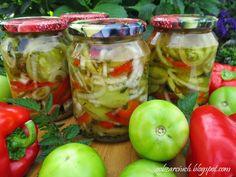 Sałatka z zielonych pomidorów z papryką Chutney, Cabbage, Salads, Appetizers, Menu, Cooking Recipes, Vegetables, Food, Menu Board Design