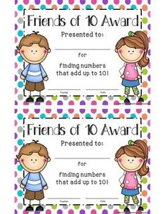 Friends of Ten Award- Part of the Friends of 10 Timed Tests and Flash Cards Resource- Make Ten- Second Grade Math, First Grade, Addition Flashcards, Math Fact Fluency, Making Ten, Malu, Addition Facts, Math Facts, Student Learning