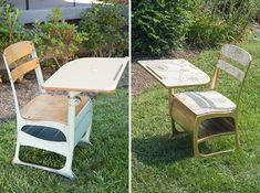 Turn a vintage elementary school desk into a fabulous white and gold piece.