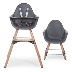 Evolu high chair in childwood anthracite wood- Chaise haute Evolu en bois anthracite Childwood Evolu highchair in Childwood anthracite wood for children from 6 months to 3 years – Oxybul awakening and games - Baby Decor, Kids Decor, Home Decor, Chaise Haute Rose, Girl Closet, Kids And Parenting, Baby Love, Nursery, Chair