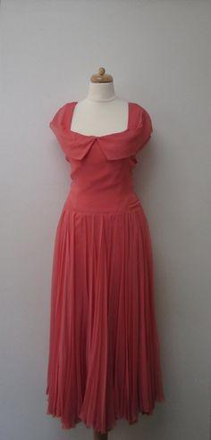 Vintage Silk Chiffon Coral Dress w/ Pleated by DarkbloomVintage