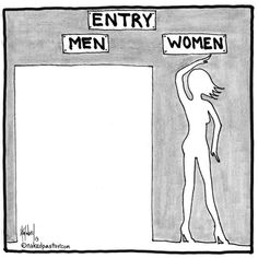 Tony Jones' curious call for schism. Isn't this scarily accurate to the way women need to fit themselves into this perfect shape and size to accepted and loved by society? Today Cartoon, Gender Roles, Gender Issues, Intersectional Feminism, Patriarchy, Social Issues, Social Work, Body Image, Men And Women