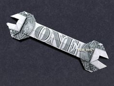 Items similar to WRENCH Money Origami - Dollar Bill Art - Gift for Mechanics Auto Shop Car Repair on Etsy Money Lei, Money Origami, Origami Paper, Cash Money, Origami Tooth, Money Rose, Money Cards, Creative Money Gifts, Cool Gifts