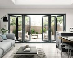 Search this website loaded with information on french doors exterior Open Plan Kitchen Living Room, Kitchen Doors, Bi Folding Doors Kitchen, Folding Patio Doors, Folding Glass Patio Doors, Bifold Doors Onto Patio, Modern Patio Doors, Living Room Designs, Living Room Decor