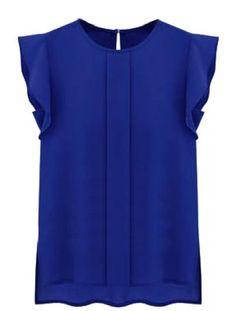 Blue Puff Sleeve Split Chiffon Blouse