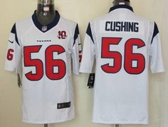 85589c8c4 Nike Texans  56 Brian Cushing White With 10th Patch Men s Embroidered NFL  Limited Jersey! Only  24.50USD