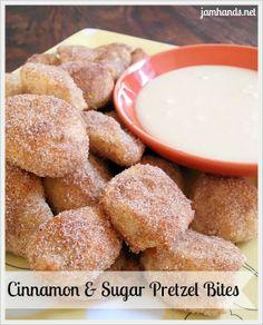 Jam Hands: Pretzel Bites in 3 Flavors: Cinnamon & Sugar with Vanilla Glaze, Plain and Parmesan & Garlic