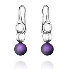 Georg Jensen Earrings Sphere Amethyst   C W Sellors Fine Jewellery and Luxury Watches