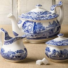 Blue Italian Spode And White China Love