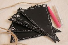SMALL Chalkboard  Fabric Banner, Pennant 5 Triangles, reversible, double-sided. $12.00, via Etsy.