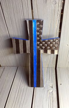 Thin Blue Line Leather cross with wood backing, home, office, wall hanging by sobleather on Etsy