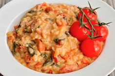 Good comfort food!  Creamy Goat Cheese Risotto with Sun-Dried Tomatoes and Spinach
