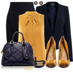 """""""Navy and Mustard - Tory Burch Accessories"""" by amy-phelps on Polyvore"""