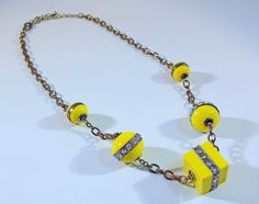 1960s Mod Yellow and Rhinestones Beads Necklace by RetrofitStyle, $34.00