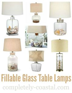 Lamps for beach memory keeping! Display your seashells and other treasures you\'ve collected on the beach in a glass table lamp: www.completely-co...