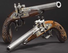 Lock, Stock, and History — A pair of deluxe cased percussion pistol crafted...