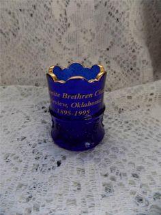 Vintage TOOTHPICK HOLDER-MENNONITE CHURCH-OKLAHOMA-BLUE COBALT-Gold Trim