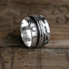 Handmade Sterling Silver Spinning Ring, Spin Ring, Mediatation Ring, Commitment Ring, Promise Ring, Movment Ring Wide Band, Free Shipping by Wysh925 on Etsy https://www.etsy.com/listing/491832607/handmade-sterling-silver-spinning-ring