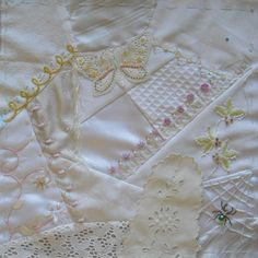 I ❤ crazy quilting, beading & embroidery . . . Marie-Hélène H. crazy quilt white on white ~By Anne Nicolas-Whitney