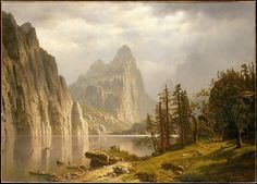 Merced River, Yosemite Valley  Artist:Albert Bierstadt (American, Solingen 1830–1902 New York) Date:1866 Medium:Oil on canvas Dimensions:36 x 50 in. (91.4 x 127 cm)