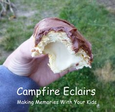 Campfire Eclairs - cook croissant dough over fire then fill with vanilla pudding and top with chocolate frosting.