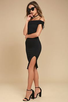9329a01959de Never Enough Black Off-the-Shoulder Bodycon Midi Dress 2 Bodycon Midi Skirt