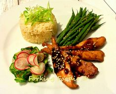 Forking Foodie: Thermomix Teriyaki Chicken or Salmon Meal with Sesame-Miso Green Beans or Asparagus, Cucumber-Radish Pickles and Rice