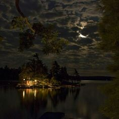 Moonlight camping on an island.
