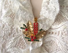 Vintage Christmas Brooch Candle Costume Jewelry Holiday