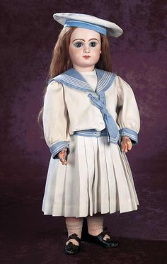 French Bisque Bebe Jumeau,Size 11,in Antique Mariner Costume