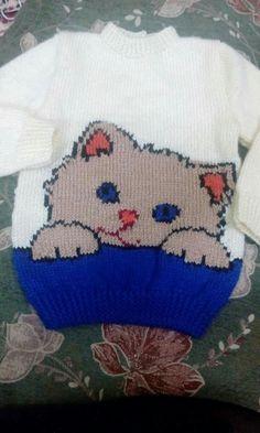 Baby Boy Knitting Patterns, Baby Cardigan Knitting Pattern, Knitting Charts, Knitting For Kids, Baby Blanket Crochet, Baby Patterns, Pull Chat, Crochet Bookmark Pattern, Diy Crafts Knitting