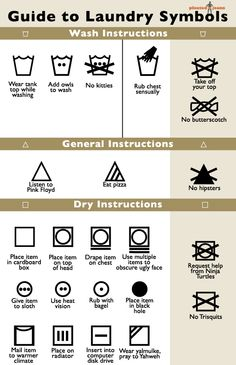 Laundry symbols...since I used to work in quality assurance and select care labels for clothing, I find these EXTRA hilarious! LOL