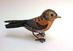 'Brambling' painted and embroidered bird by Emily Sutton Paper Birds, Fabric Birds, Fabric Art, Felt Birds, Textile Sculpture, Bird Sculpture, Soft Sculpture, Embroidered Bird, Bird Embroidery
