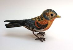 """""""Brambling"""" painted and embroidered bird by Emily Sutton"""